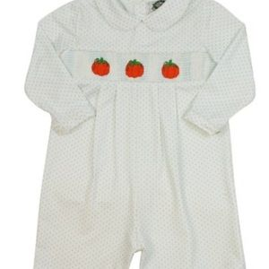 cecil and lou One Pieces - Cecil Lou smocked pumpkin romper